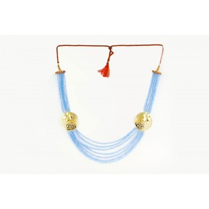 Silver Alloy Gold Plated Floral Light Sky Blue Beads Necklace