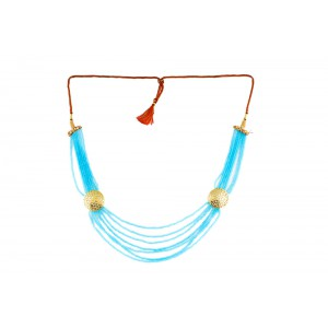 Silver Alloy Gold Plated Star Sky Blue Beads Necklace
