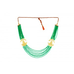 Silver Alloy Gold Plated Half Moon Light Green Beads Necklace