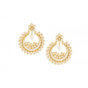 Silver Gold Plated Crystal Polki & Pearl Earring