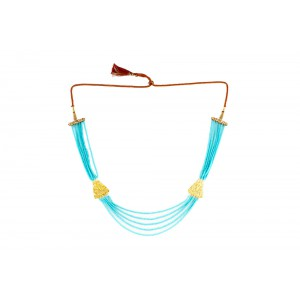 Silver Alloy Gold Plated Filigree Sky blue Beads Necklace