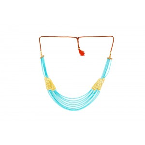 Silver Alloy Gold Plated Multi Filigree Sky blue Beads Necklace`