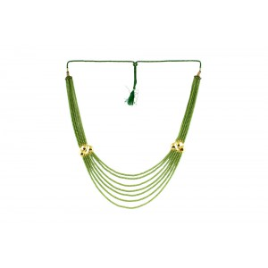 Silver Alloy Gold Plated Multi Floral Light Green Beads Necklace