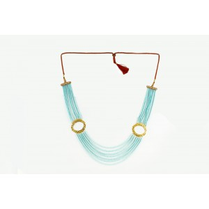 Silver Alloy Gold Plated Half Moon Light Sky Blue Beads Necklace