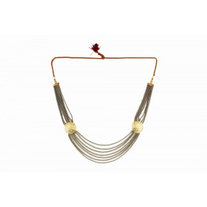 Silver Alloy Gold Plated Light Brown Beads Necklace