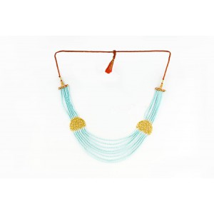 Silver Alloy Gold Plated Star Light Sky Blue Beads Necklace