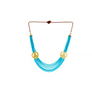 Silver Alloy Gold Plated Half Moon Sky Blue Beads Necklace