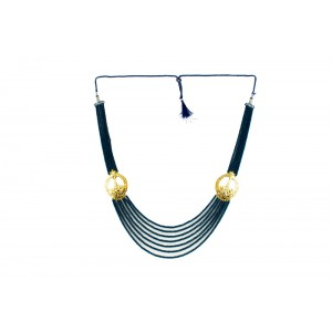 Silver Alloy Gold Plated Dark Blue Beads Nacklace