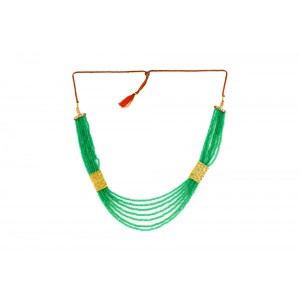 Silver Alloy Gold Plated Green Beads Necklace