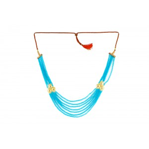 Silver Alloy Gold Plated Multi Floral Sky Blue Beads Necklace