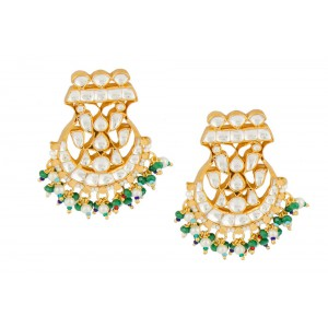 Silver Gold Plated Crystal Polki & Color Gemstone Earring