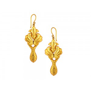 Silver Gold Plated Fish Leaf Earring