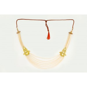 Silver Alloy Gold Plated Floral Ivory Beads Necklace