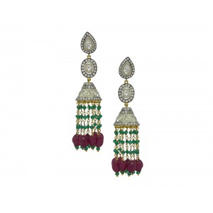 Silver Gold Plated with Black Rhodium Ruby, Green Onyx, Crystal Polki & Zircon Jhumki