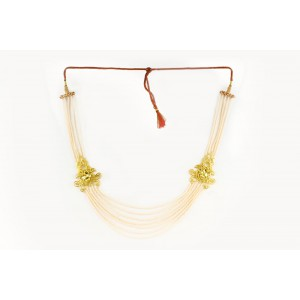 Silver Alloy Gold Plated Filigree Floral Ivory Beads Necklace