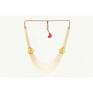 Silver Alloy Gold Plated Halfmoon Ivory Beads Necklace