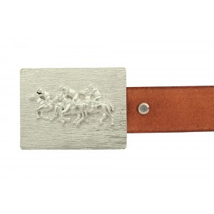 Silver  Alloy White Gold Plated Polo Belt Buckle