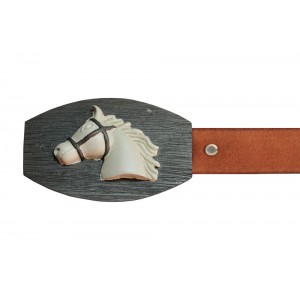 Silver Alloy with Black Rhodium Horse Belt Buckle