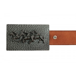 Silver Alloy with Black Rhodium Polo Belt Buckle