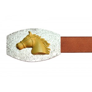 Silver Alloy with Gold Plated Polo Horse Belt Buckle