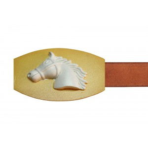 Silver Alloy Gold Plated Polo Horse Belt Buckle