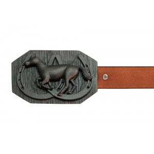 Silver Alloy with Black Rhodium Polo Horse Belt Buckle