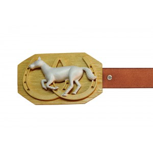 Silver Alloy Gold Plated Horse Shoe Belt Buckle