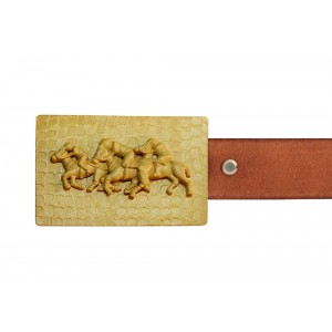 Silver Alloy Gold Plated Horse Polo Belt Buckle