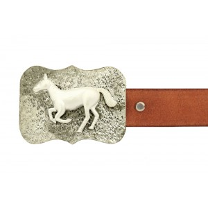 Silver Alloy with Black Rhodium Running Horse Belt Buckle