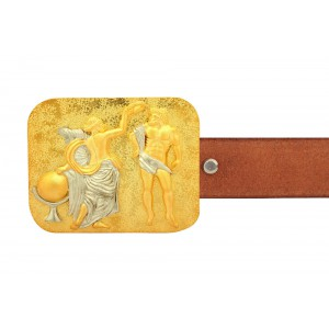 Silver Alloy Gold Plated Greek Belt Buckle