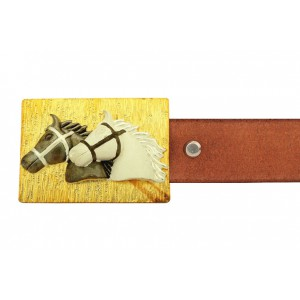 Silver Alloy Gold Plated with Rhodium Belt Buckle