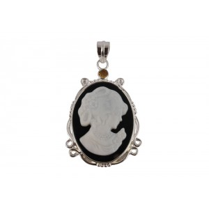 Silver Citine Mother of Pearl Pendant