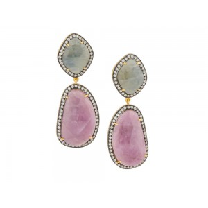 Silver Gold Plated with Black Rhodium Tourmaline Talpy & Zircon Earring