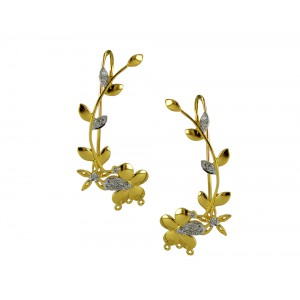 Silver Gold Plated Zircon Floral Earcuff