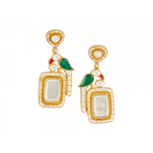 Silver Gold Plated Crystal Polki, Red & Green Gemstone Parrot Earring