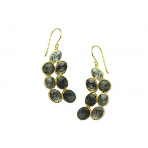 Silver Gold Plated Black Rutile Earring