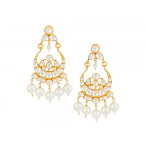 Silver Gold Plated Pearl & Crystal Polki Traditional Earring