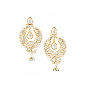Silver Gold Plated Crystal Polki, Pearl, Ruby Earring