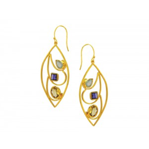 Silver Gold Plated Aqua Blue Chalcedony, Citrine & Amethyst Earring