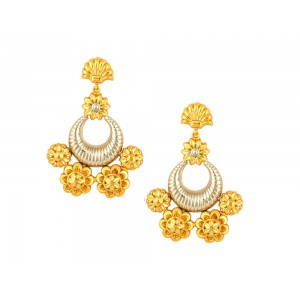 Silver Gold Plated Half Moon Multi Floral Earring