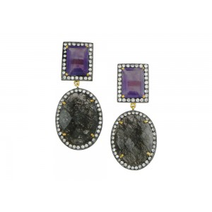Silver Gold Plated wtih Black Rhodium Black Rutile, Amethyst & Zircon Earring