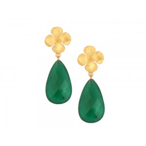 Silver Gold Plated Green Onyx Floral Earring