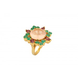 Silver Gold Plated Rose Quartz, Green Onyx & Garnet Floral Ring
