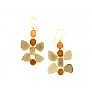 Silver Gold Plated Smoky & Gomed Earring