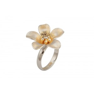 Silver Gold Plated Floral Ring