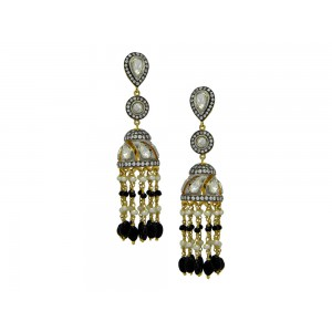 Silver Gold Plated with Black Rhodium Crystal Polki, Black Onyx, Pearl & Zircon Jhumki