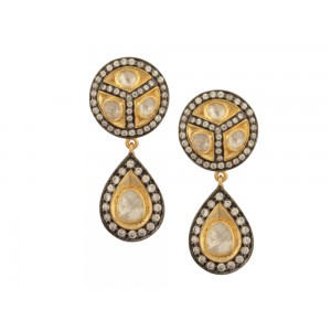 Silver Gold Plated with Black Rhodium Zircon & Crystal Polki Earring