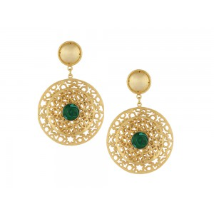 Silver Alloy Gold Plated Circular Malachite Earring