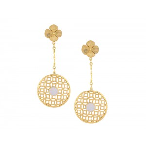 Silver Alloy Gold Plated Moon Gemstone Dangler Earring