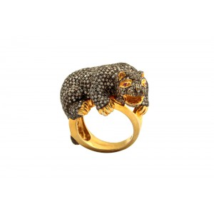 Silver Gold Plated Zircon Studded Panther Ring